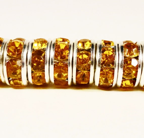 Yellow Rhinestone Rondelle Spacer Beads 8mm Topaz Yellow Silver Plated Metal Acrylic Crystal Rhinestone Beads for Jewelry 50 Loose Beads