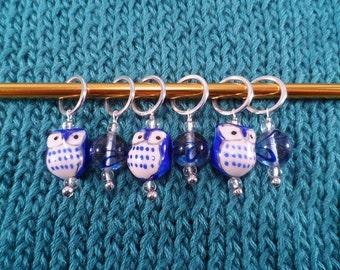 Blue Owl Stitch Markers set of 6