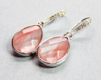 Strawberry Quartz Colored Teardrop Earrings - Pink and CZ Earrings