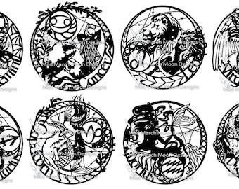 Zodiac BUNDLE 5 Papercut TEMPLATES Personal use.PDF download