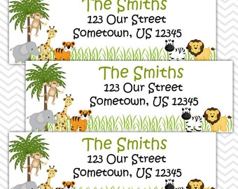 Jungle   - Personalized Address labels, Stickers, Baby Shower, Birthday