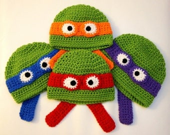 Free Crochet Pattern For Ninja Turtle Hat With Mask : Tmnt crochet Etsy
