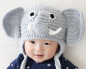 Elephant Hat, Crochet Baby Hat, Animal Baby Hat, photo prop