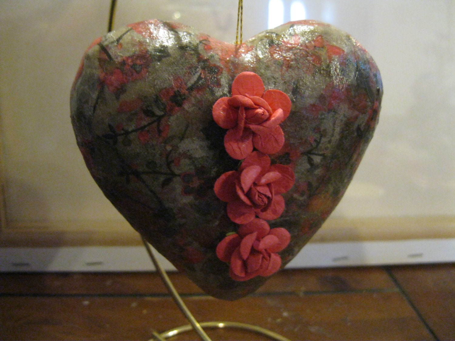 Puffy Heart Decoupaged Paper Mache Christmas Ornament with