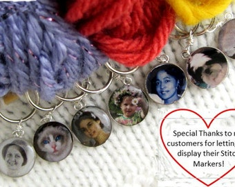 Snag Free Personalized Photo Sterling Silver Stitch Markers