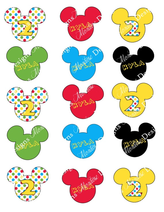 Mickey Mouse Birthday Party Cupcake Toppers Customized red