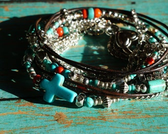 Leather Wrap Bracelet, Boho - Coral Splash - Endless Leather Wrap