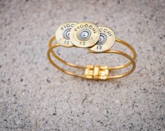12 gauge gold tone clamper bracelet