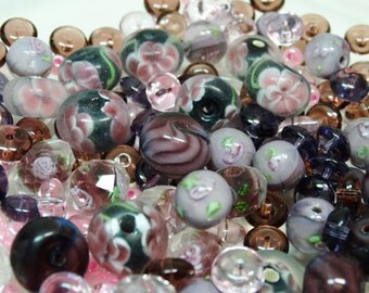 Assorted Beads, Lampwork Beads, Purple Beads, Glass Beads, Faceted Beads