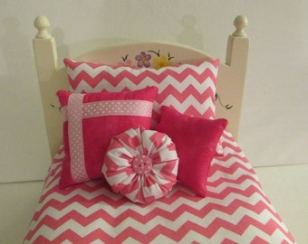 American Girl Doll Bedding Pink and white Chevron