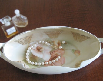 Vanity or Serving Dish - R.S. Germany -  Hand Painted - Shabby Chic Floral Design - Candy Dish