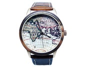 World Map Watch, Mens Brown Genuine Leather Watch, Map Watch