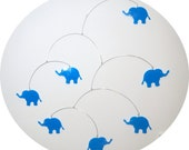 Kinetic Nursery Mobile - Blue Elephants, Pachyderms, Silhouettes, Baby, Infant, Boys, Baby Shower, Gift, Children
