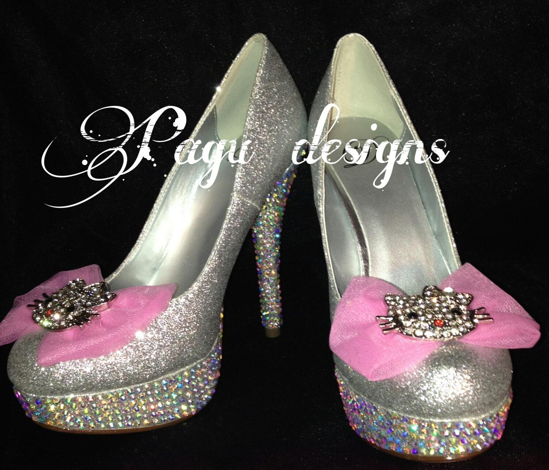 Hello kitty heels crystal swarovski shoes bridal by ...  Hello kitty hee...
