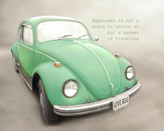 Happiness Love Bug Mint Green Vintage Antique Volkswagen