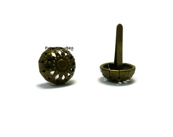 30 pieces 15mm round purse feet  for purses or handbags antique brass color - PF012