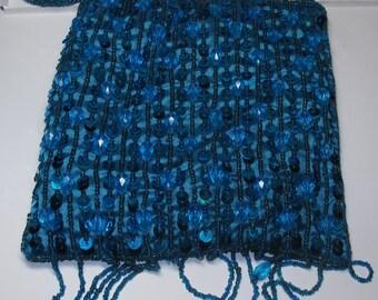 """vintage womans purse 6x6"""" blue sequins"""