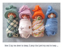 Printable Childrens Bedtime Prayer with Cute Clay Babies, You Print, Church Nursery Decor, Midwife Office Decor,  Cards