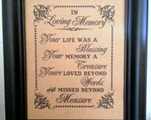 8 x 10 PRINT Loved Ones/ Remembrance / In Loving Memory - Wedding Sign / Funeral / Wake /- Single Sheet (Style: MISSED)
