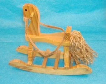Vintage Wood Rocking Horse - 6 Inches x 5 1/4 Inches tall x 2 1/2 Inches Wide - Sweet Nursery Room Addition, Collectible - DeStash