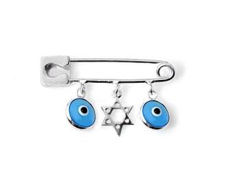 Star of David Evil Eye Pin