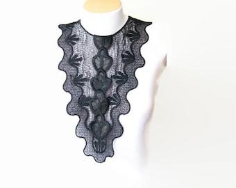 NECKLACE- Lace Jewelry Black ,Bridesmaid Accessories, Woman Applique ,OOAK, Graduation accessories