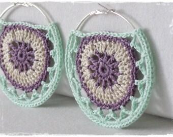 Mandala Hoop Earrings-Crochet Jewelry-Large Hoops-Hippie-Boho-Cotton Thread