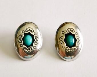 Vintage Navajo Sterling Silver & Turquoise Ornate Shadowbox Earrings
