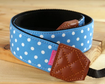 Personalize Camera Strap - Blue Polka Dot for DSLR and Mirrorless