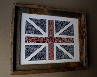 British Pubs Union Jack Flag Print - Unframed
