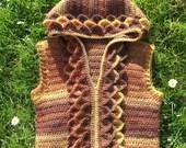 CROCHET PATTERN Crocodile stitch sleeveless hoodie us and uk terms