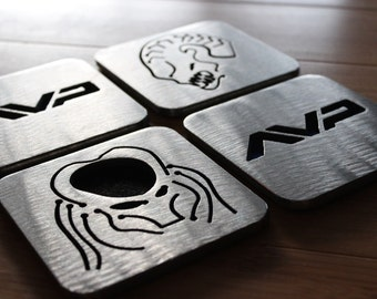 Alien versus Predator, AVP Coasters Set of 4, Stainless Steel