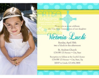 Girl's First Communion Invitations, Communion Invitations, Yellow and ...