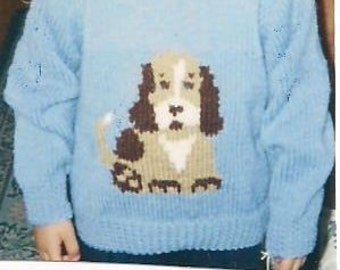 Hand knitted Childs pullover with Puppy.