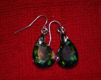 Rainbow Crystal Drop Earrings