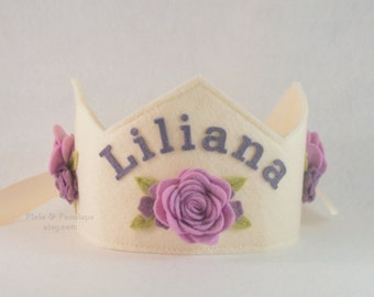 Personalized Birthday Crown in Purple and Ivory