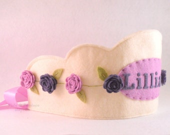 Felt Princess Crown, Purple, Birthday Crown, Personalized, Girl