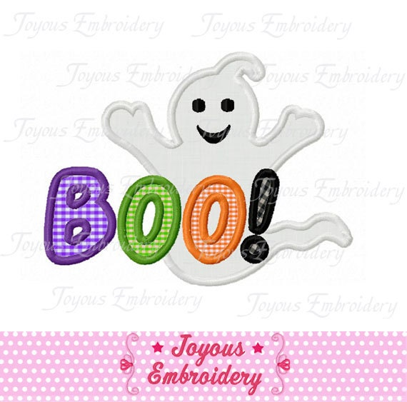 Instant Download Halloween Ghost BOO  Applique Machine Embroidery Design NO:1226