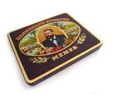 Vintage Cigar Tin Box - Retro Advertising Metal Collection Box with Hinge Lid - Dannemann Sumatra - 1970s