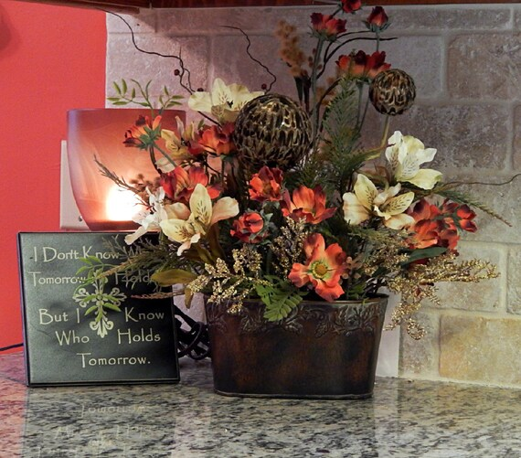 Tuscan Floral Arrangement With Popppies And Feather Ball