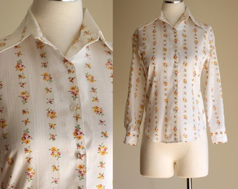 SALE: Vintage 70s White Cotton Boho Blouse - Pink and Gold Floral Striped Long Sleeve Button Down Shirt - Spring Summer Blouse - Size Small