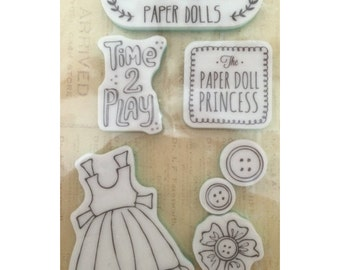Julie Nutting - Play Time - Cling Stamp - Paper Doll Dress - Flower - Buttons - Sentiments - Prima - 7 Rubber Stamps - Perfect for Cards