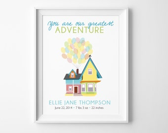 "Disney UP Baby Greatest Adventure Birth Stats - ""You Are Our Greatest Adventure "" Nursery Decor with Carl & Ellie's House to Paradise Falls"