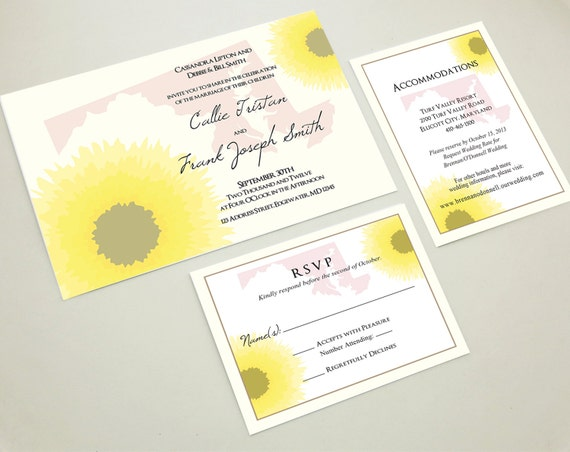 Wedding Invitations In Maryland: Maryland Black Eyed Susan Floral Wedding Invitation Suite With