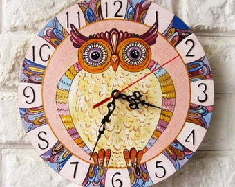 Pink owl Wall Clock, Modern wall clock with numbers, White wall clock, wood clock, kids gift, for Office, Kitchen decor