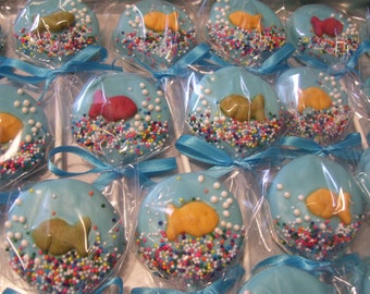 Fish bowl Oreo Pop or Cat in the Hat theme Marshmallow Pops Pretzel Rods or Oreo Pops Chocolate Favors 1 dozen