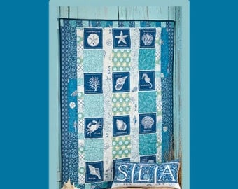 Sandbox Quilt Pattern, Patchwork, Quilt Pattern, Lap Quilt Pattern, Easy, Seascapes, Fat Quarters