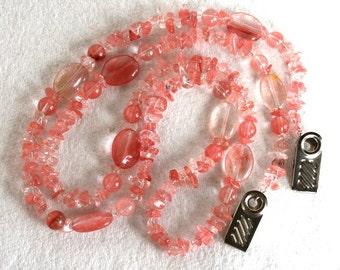 Beautiful Cherry Quartz Semi Precious Gemstone Eye Glasses Necklace