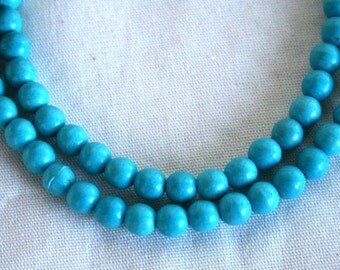 Full Strand of  Blue Turquoise Howlite Magnesite Beads