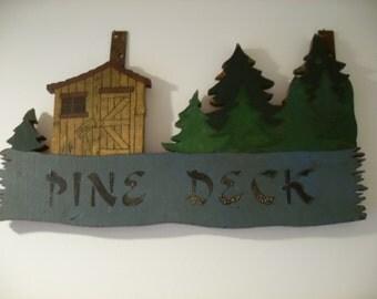Vintage Restaurant Pine Deck Sign